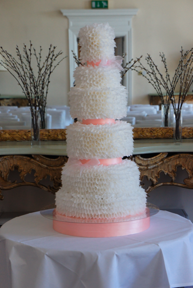 6 tier royal parchment wedding cake