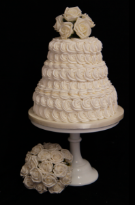 3 tier rose swirl wedding cake