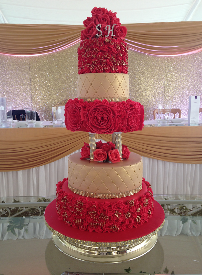 5-tier-red-gold-wedding-cake | SugarBliss Cake Company
