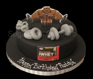 weight lifting-gym-birthday cake
