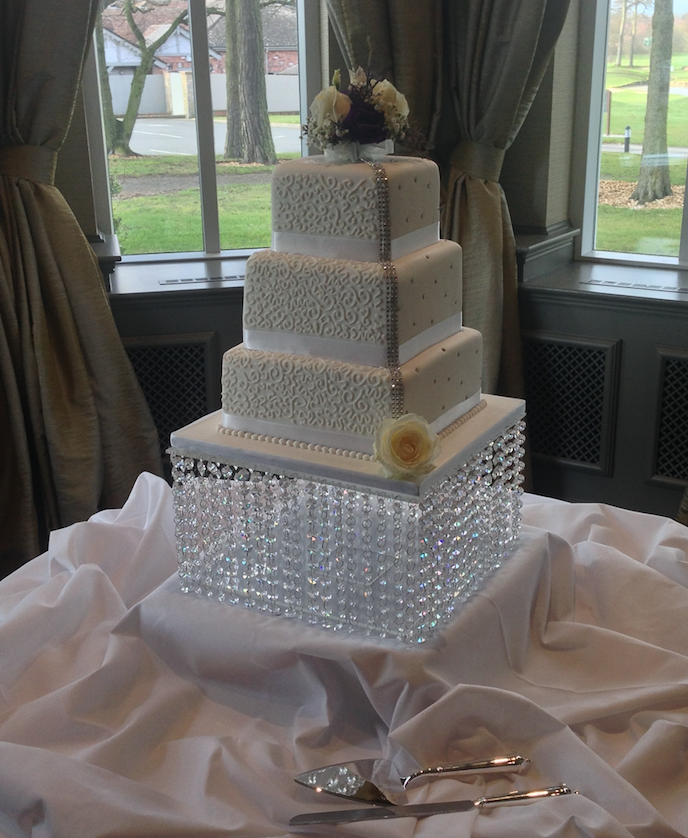 how to make a crystal wedding cake stand diamante wedding cake sugarbliss cake company 15802